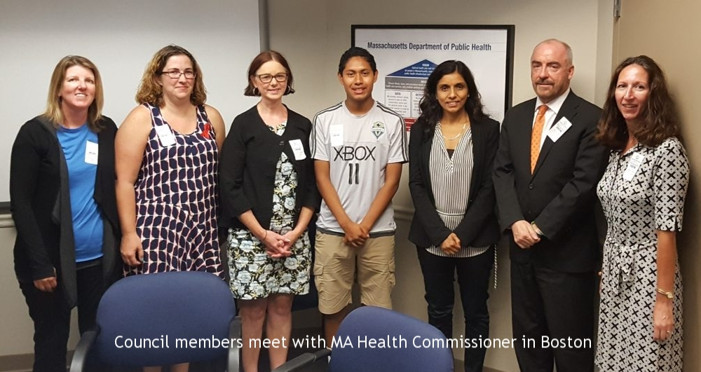 Council members meet with the MA Health Commissioner and state senators to discuss sepsis protocols in hospitals, 2016