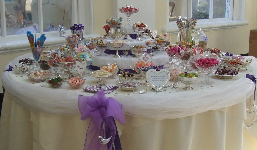 Vintage wedding sweets and candy table at Blenheim Palace