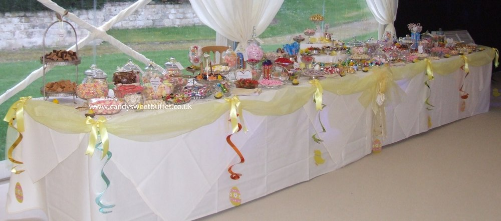 Easter wedding sweets buffet table, NO small candy sweet cart