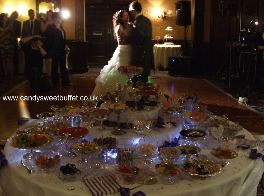 Luxury vintage wedding sweets buffet table, midlands