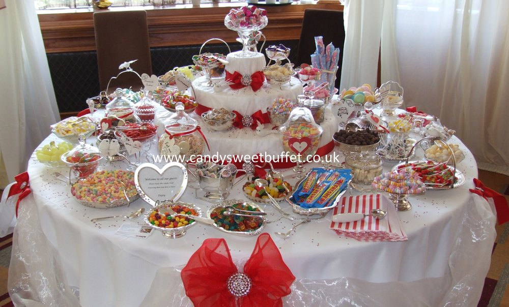 Wedding sweets and candy buffet table hire, sweet cart bar station
