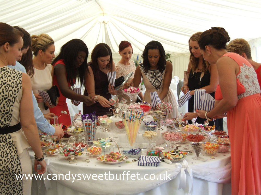 Wedding sweets buffet table, wedding favours Midlands and London