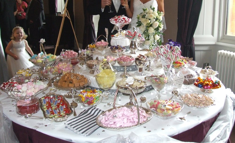 wedding sweets buffet table hire