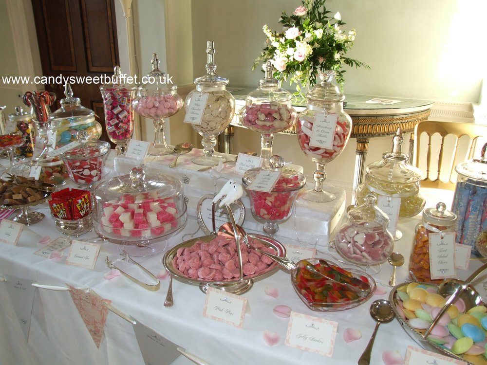 wedding sweets candy chocolates on a lavish unique buffet table with 30 varieties