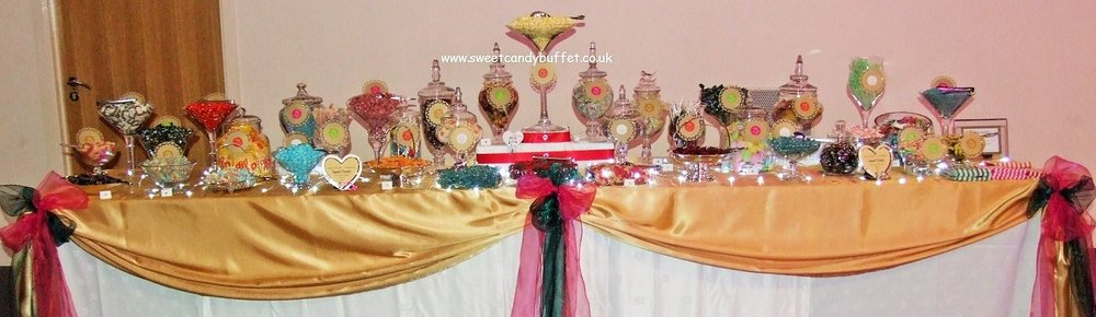 See lots of stunning budget priced sweets & candy buffets by our sister company www.sweetcandybuffet.co.uk.  Serving parties of 75 to over 2000 on table sizes from 6' long to 30'long with a minimum of 24 gorgeous glass jars, stands and dishes. Choose  20 varieties of sweets & chocolates for your table.  Prices from £290.00