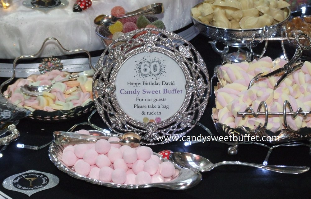 Candy Sweet Buffet Derby 60th birthday pick and mix table