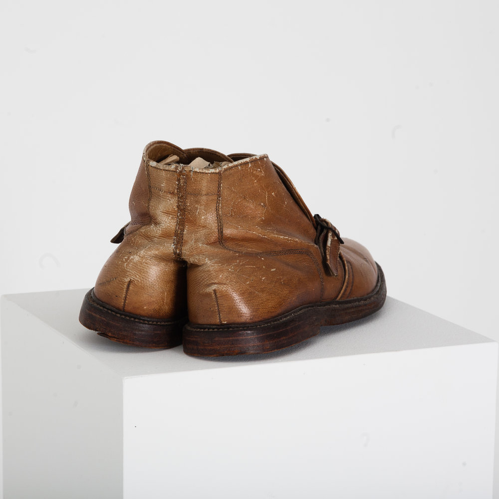 Silas Finch, Partners, 2016. 1960s men's leather shoes, yarn, nut and bolt.