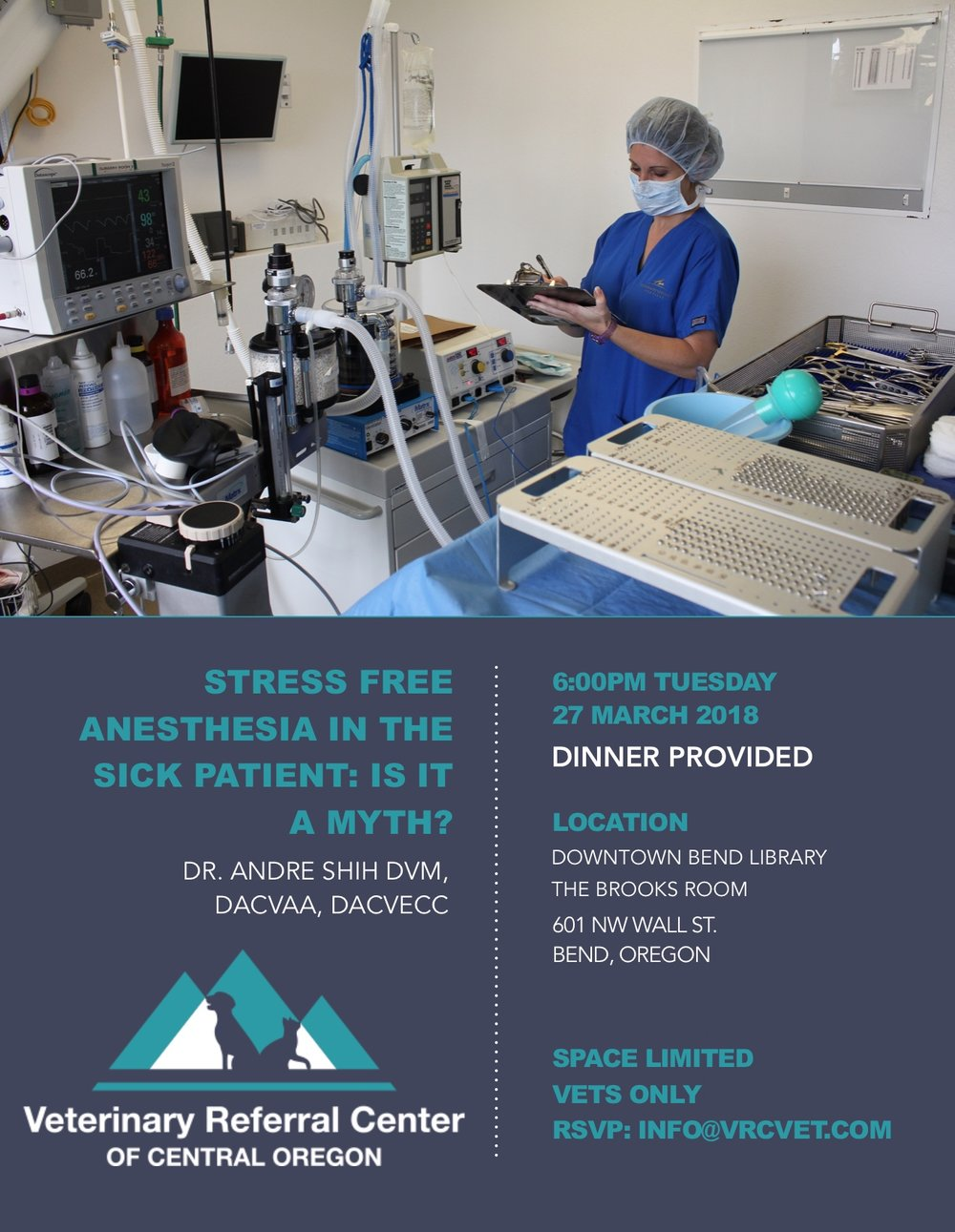 - Dr. Andre Shih, DACVA, DACVECCThank you Dr. Shih for a truly incredible night of anesthesia, emergency, analgesia, and crazy stories.  We learned a lot and hope you will visit us this summer! Below are temporary links to Dr. Shih's lecture notes. Lecture Notes:PART ONE             PART TWO