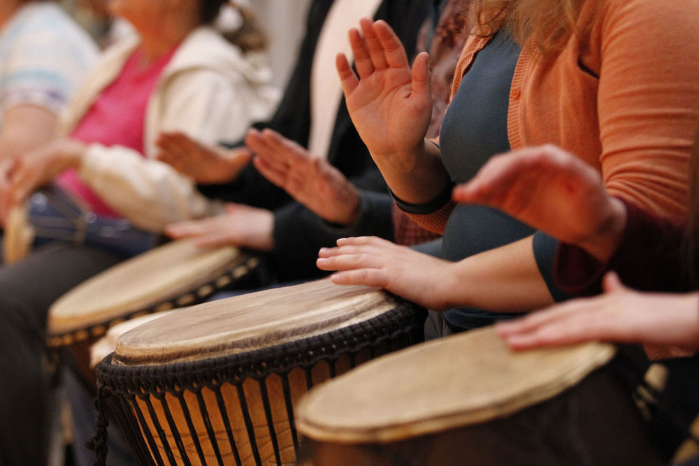 Drum Circle Second & Fourth Saturdays 1:00pm - 4:00pm Bring you drum if you have one (if you don't, that's OK too!) Join us for an invigorating time of drumming and creating.  Experienced drummers of all kinds are welcome to attend, from beginners to experts.