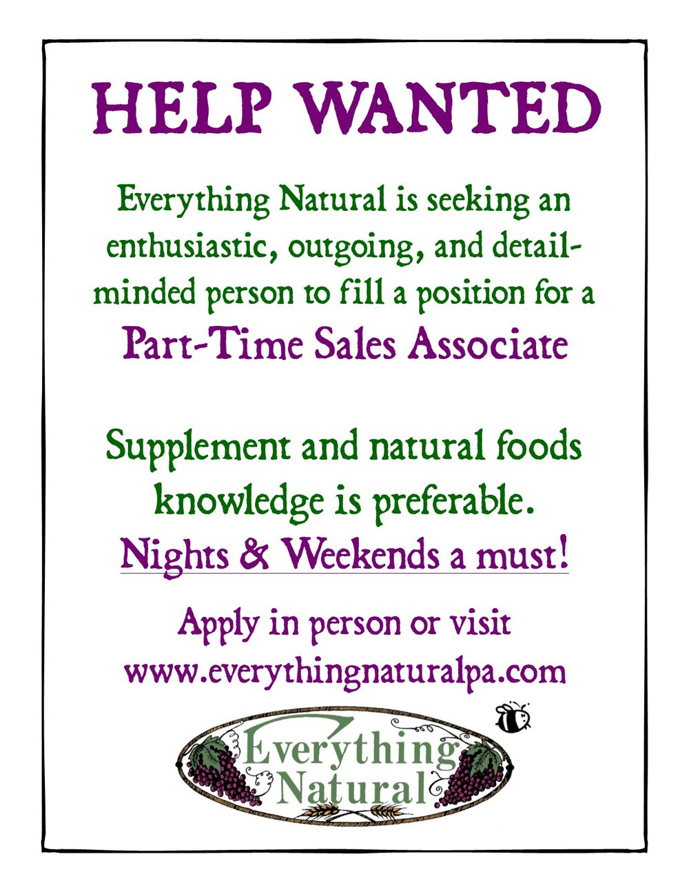 Help Wanted (Part-Time Nights & Weekends)- updated.jpg