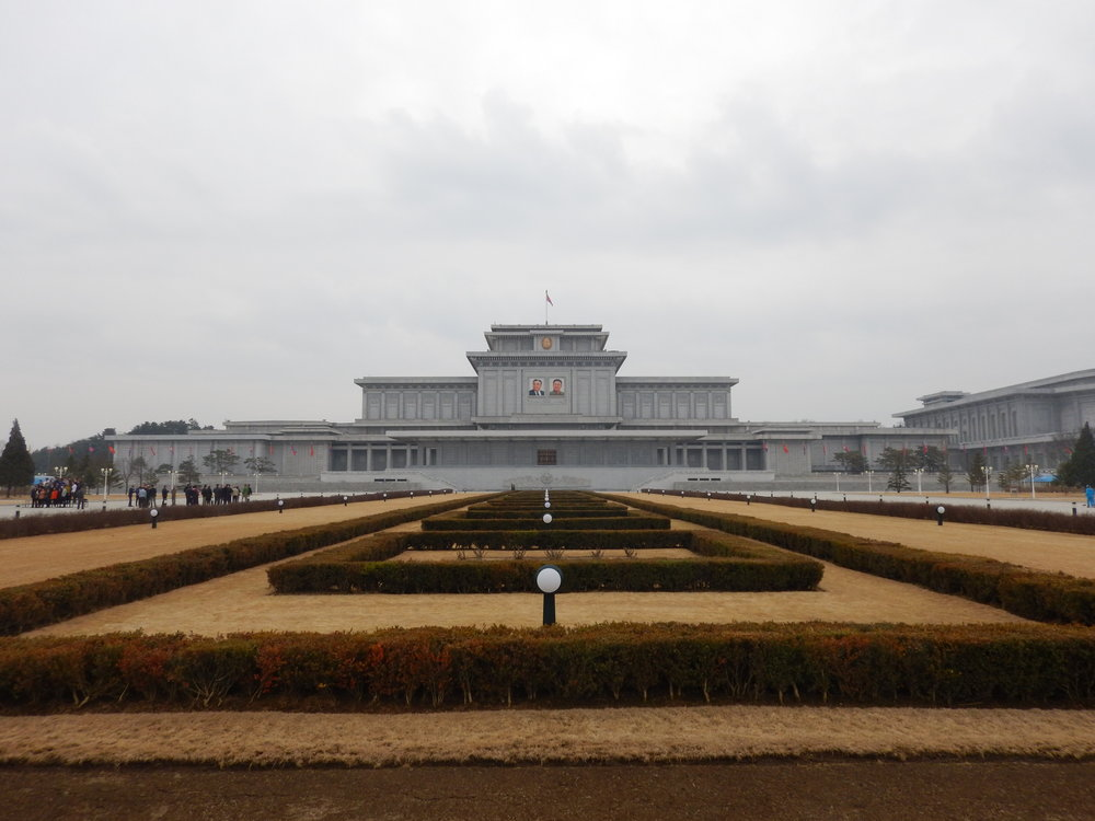 The Kumsusan Palace of the Sun, a massive concrete fortress north of the capital originally built as Kim Il-sung's primary residence, now served as a mausoleum housing the two deceased North Korean rulers. (Photo by Ethan Jakob Craft.)