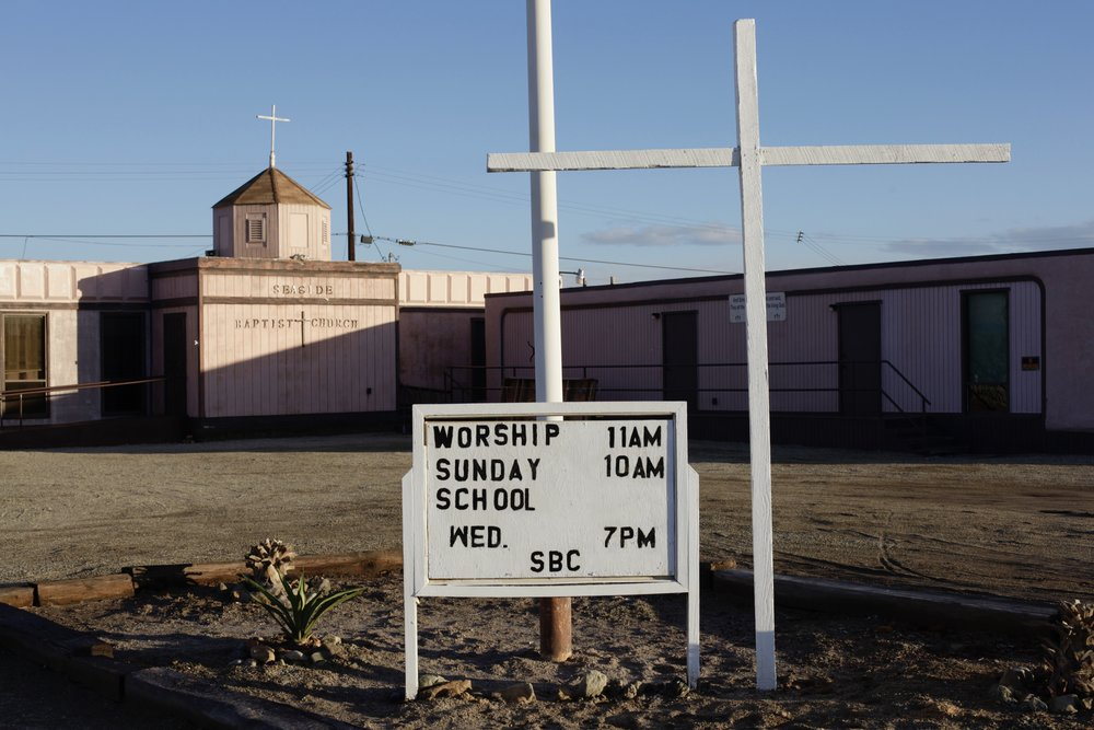 The Seaside Baptist Church in Bombay Beach, Calif. sits unused on Jan. 5, 2017. (Photo by Ethan Jakob Craft.)
