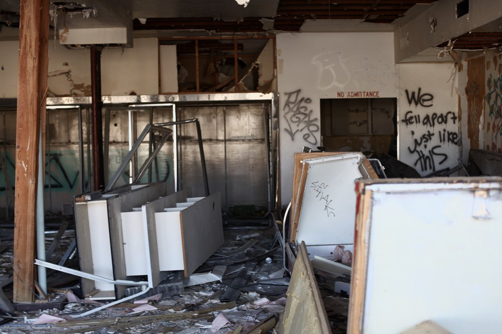 The disheveled interior of the abandoned Toro Loco Carniceria and Grocery in North Shore, Calif. on Jan. 6, 2017. (Photo by Ethan Jakob Craft.)