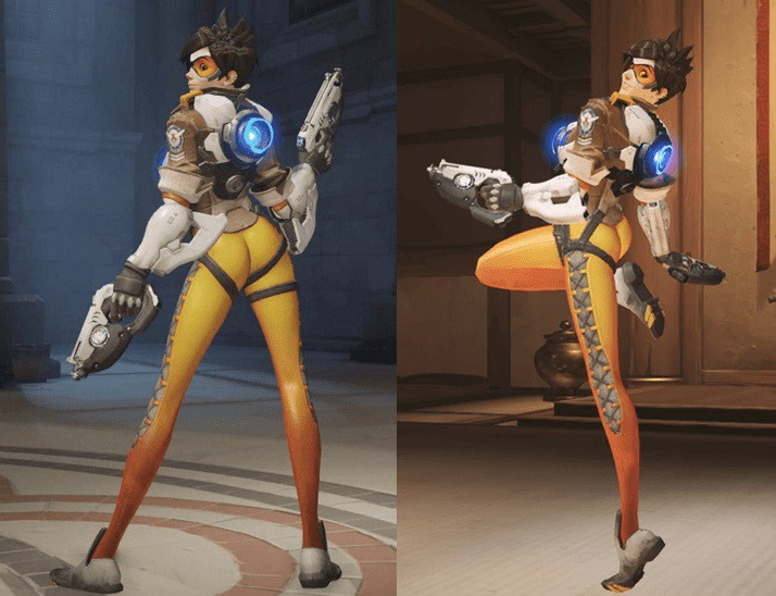 Tracer from  Overwatch  in her notorious skin-tight leggings that accentuate more than just her legs.