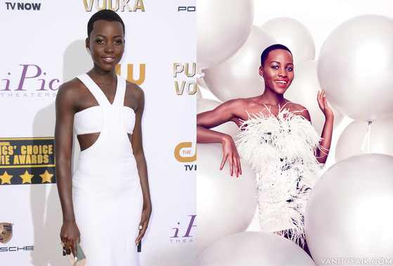 A portrait of black actress Lupita Nyong'o on the red carpet, left, and her lightened appearance as shown in the February 2014 issue of Vanity Fair magazine. (Miguel Reveriego/Vanity Fair.)