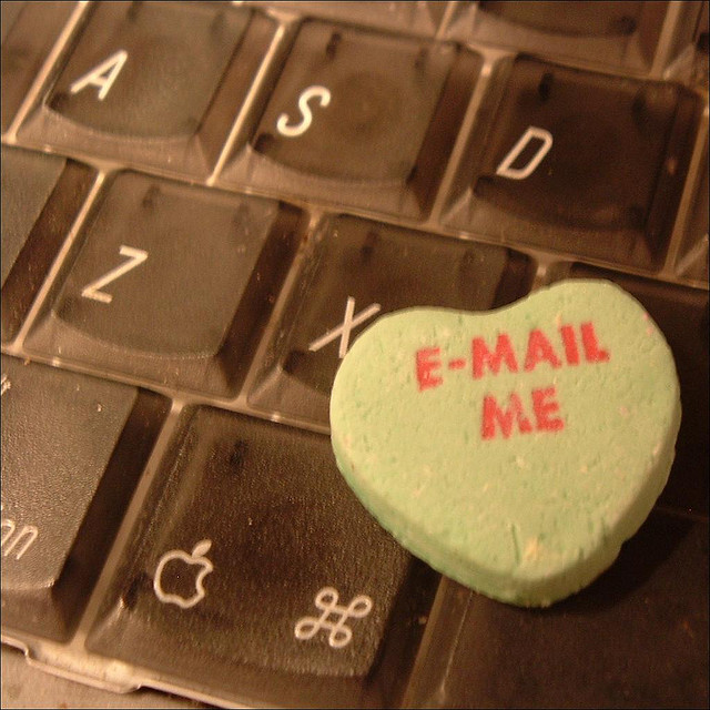 """One idea for change was updating the sayings on the treats. This heart, on a suspiciously dusty keyboard, features the updated version of """"Fax Me."""""""