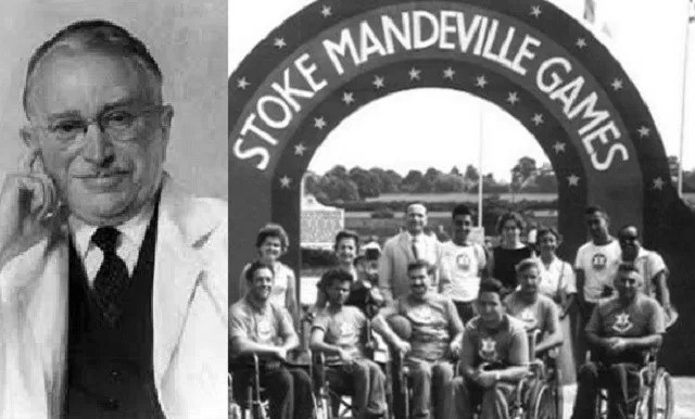 Dr. Ludwig Guttmann (left), and the first ever Stoke Mandeville Games (right) – the precursor to today's Paralympics.