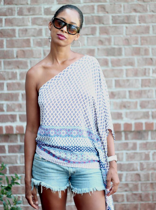 one shoulder top belleza blu