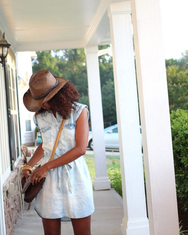chambray dress forever21 bleached walmart hat