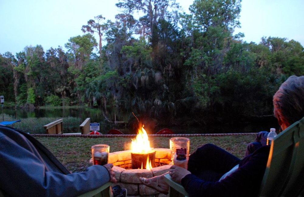 The ideal close to a perfect day: Winding down at the riverside fire pit.