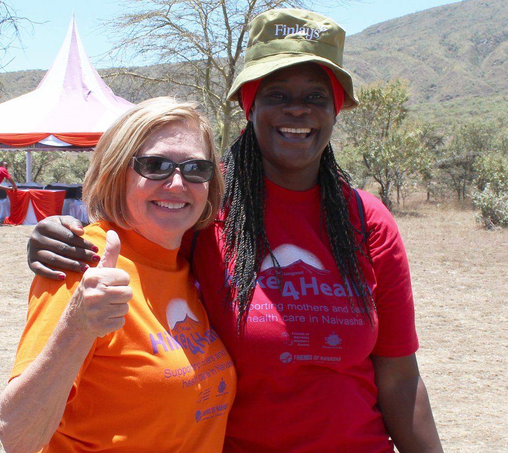 FON President Cindy and Brenda from Fairtrade Africa after a 5k hike during the  2015 HIKE4HEALTH