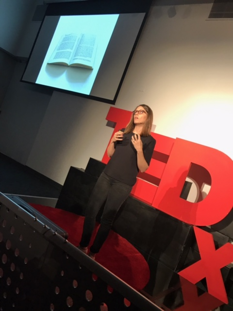 """""""Story Oratory client on Tedx stage."""" Photo Credit: Hannah Baldwin, 2017"""