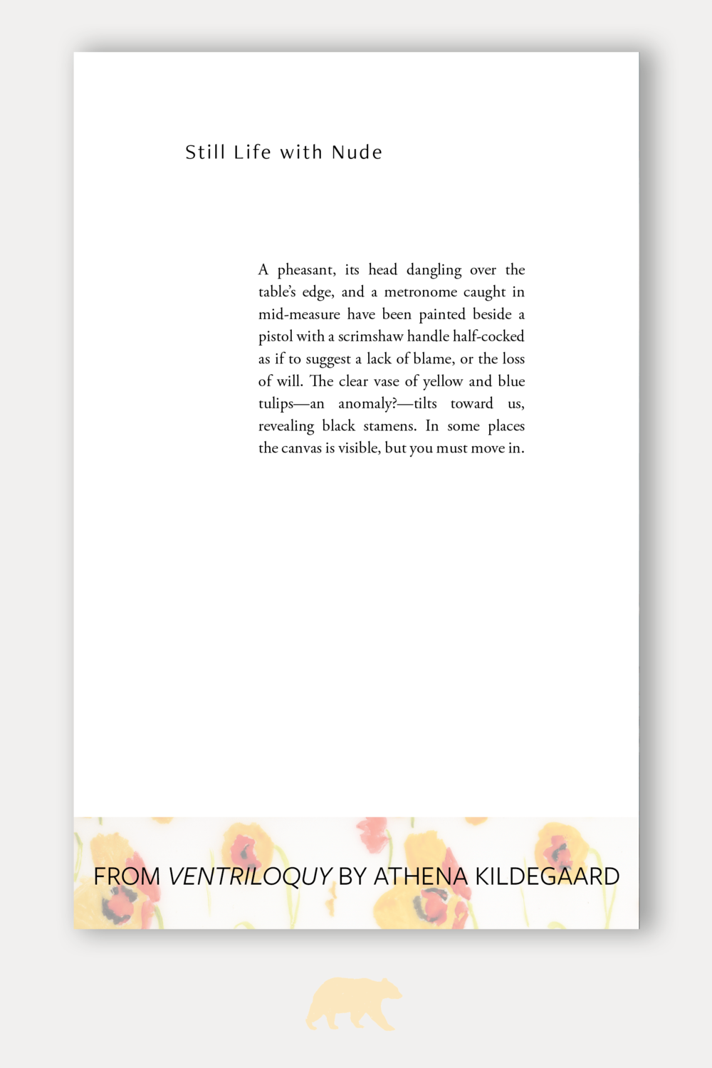 Interior Typesetting from Ventriloquy by Athena Kildegaard from Tinderbox Editions
