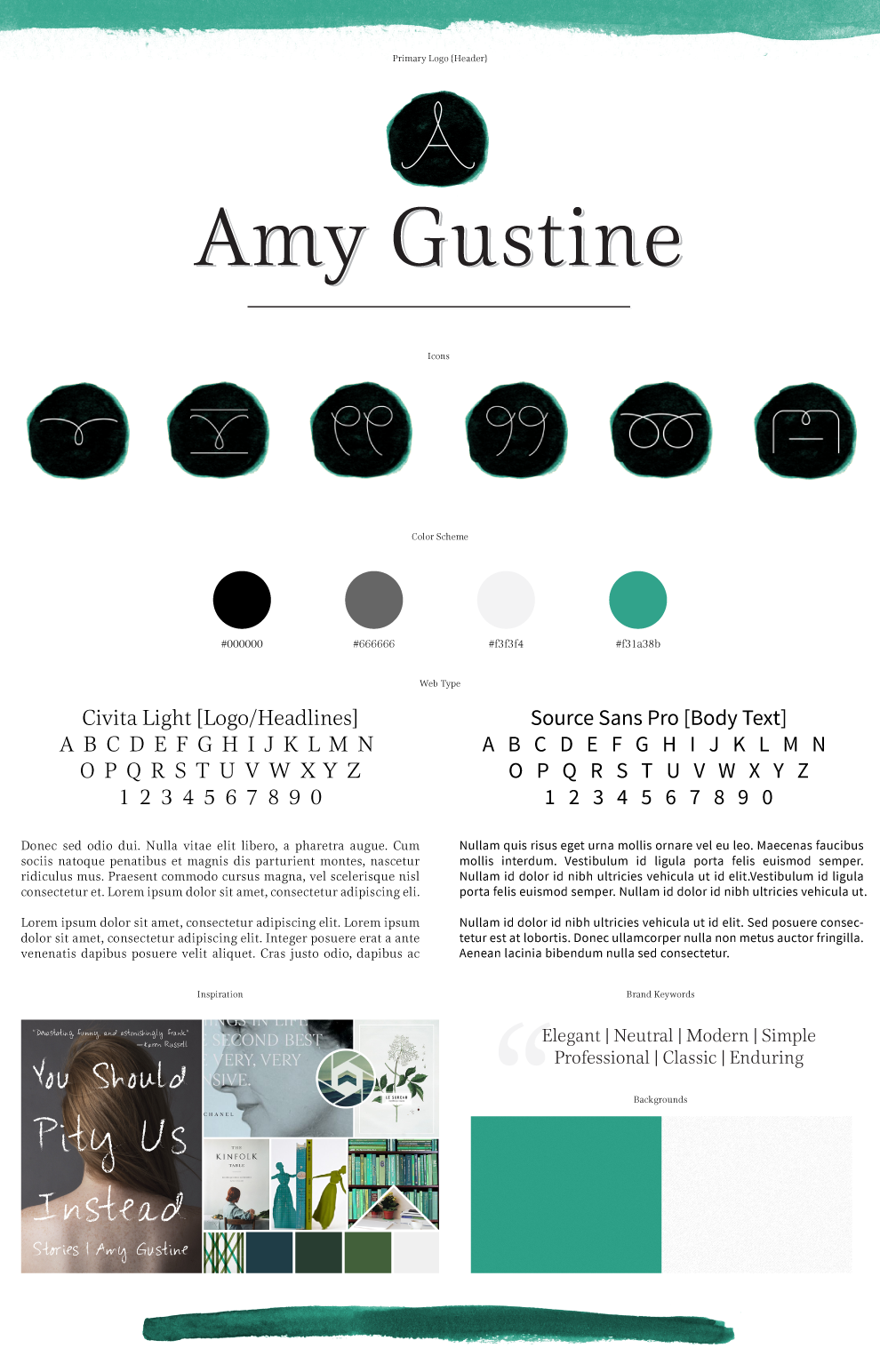 Nikkita.Co - Brand Elements for Amy Gustine