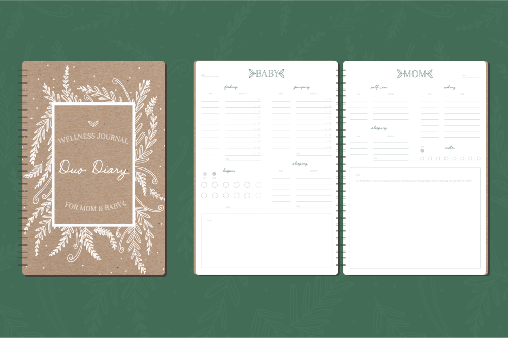 Cover and interior page spread for Duo Diary Wellness Journal