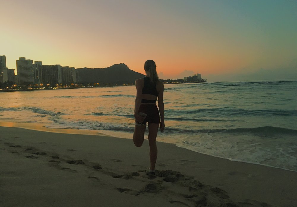 Taking in the view during a morning run on Waikiki Beach.