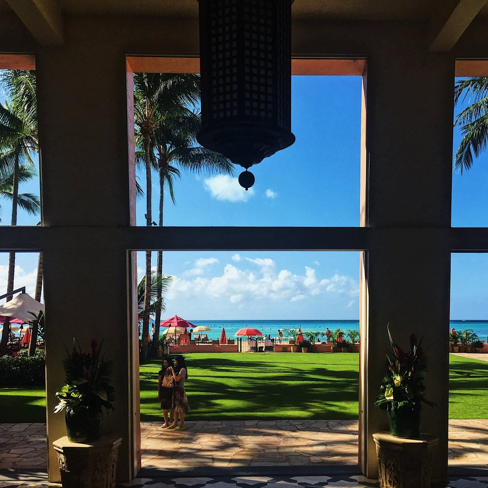 Postcard views from the beachfront lawn.