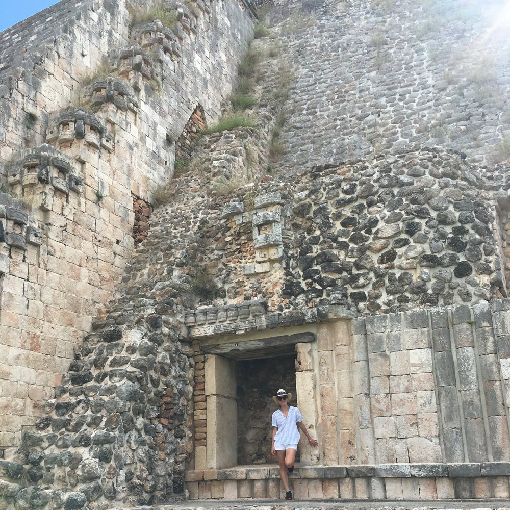 Exploring the ancient city of Uxmal.