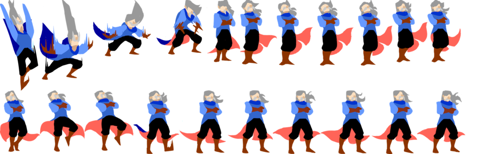 Individual frames for a character animation, created in Adobe Animate.