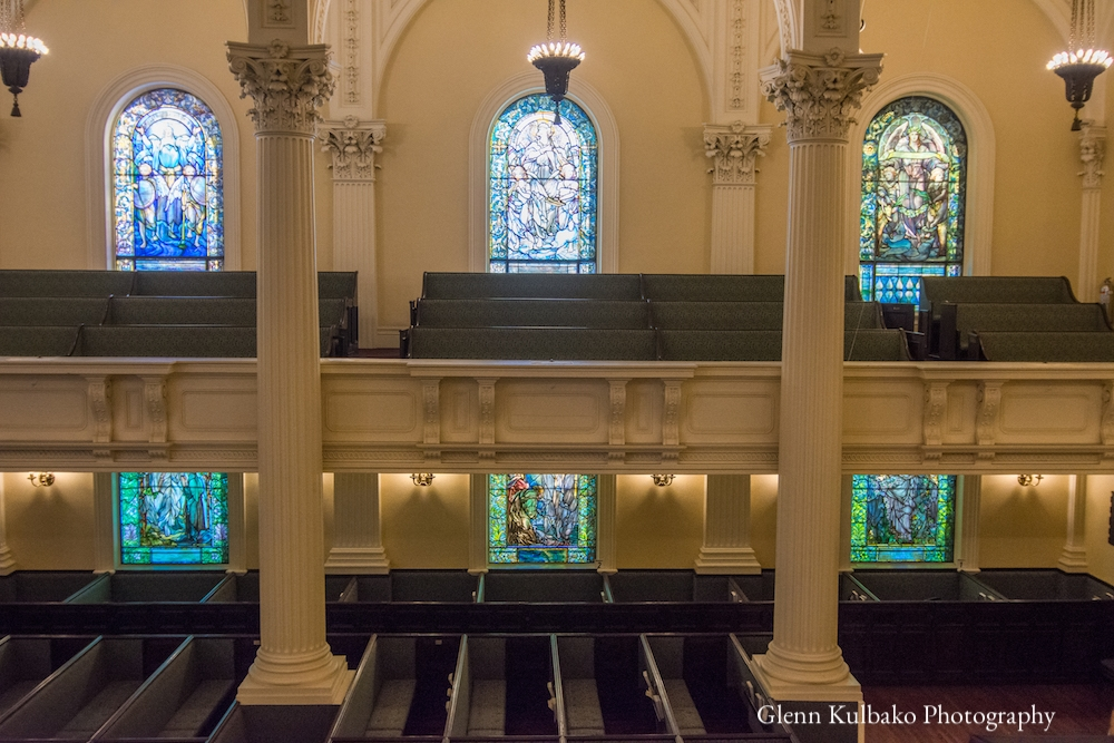 Sanctuary with Tiffany windows