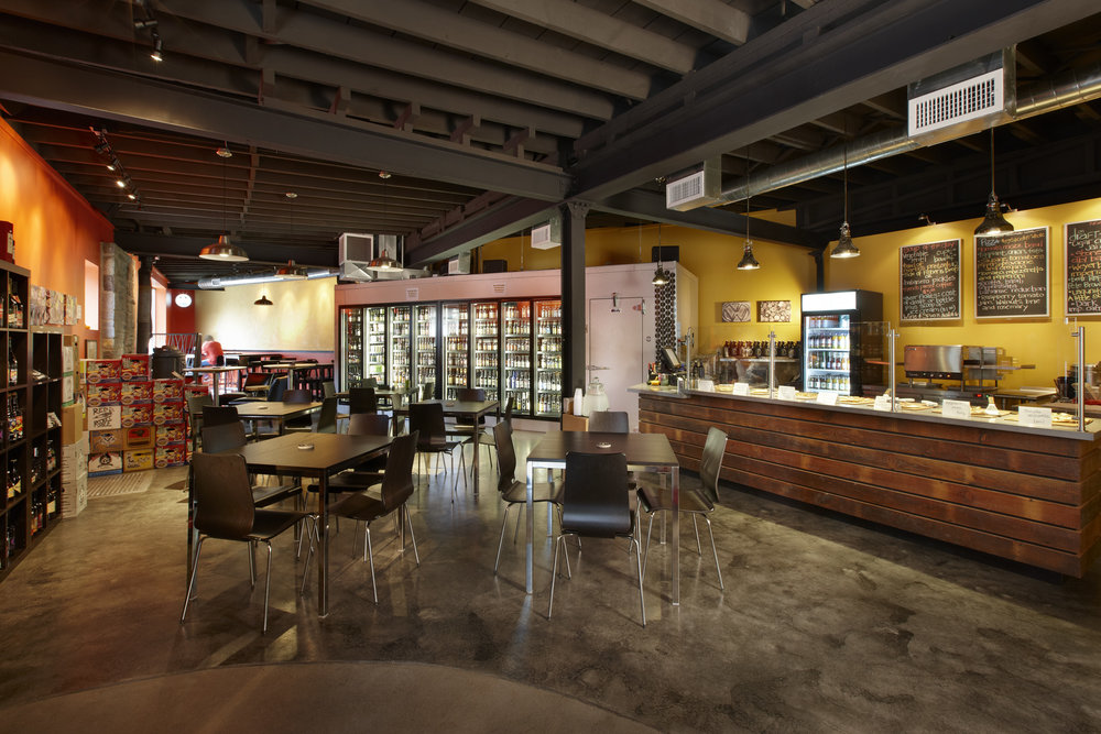 The Fridge /Lancaster, PA - This mechanic's garage was transformed into a hotspot destination for city dining through the owner's vision and our team's ingenuity.