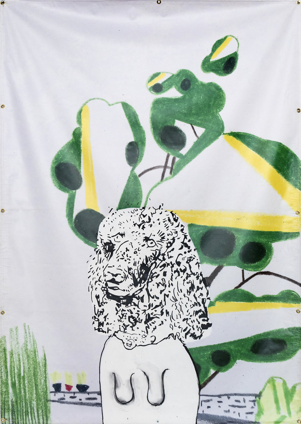 David Humphrey  Poodle  2017 Acrylic on vinyl 84 x 60 inches