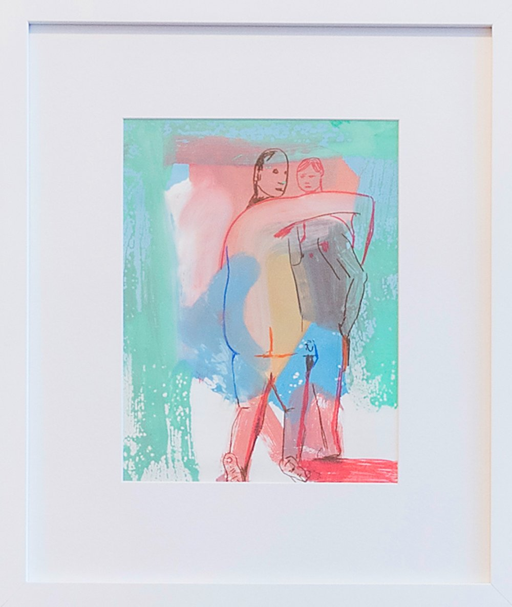 David Humphrey  Buddies  2015 Acrylic and colored pencil on frosted mylar 18 x 15.25 inches (framed)
