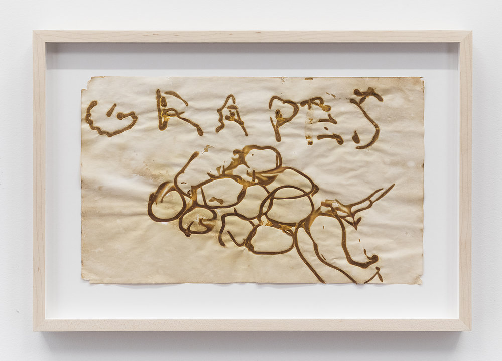 Brian Belott  Grumps  2014 Mustard on paper 8 1/4 x 13 5/8 inches