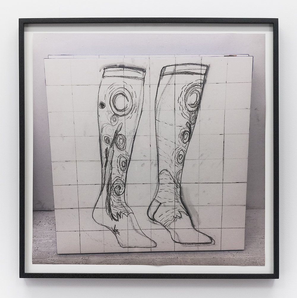 Gina Beavers  Van Gogh Socks  2018 Inkjet and crayon on paper 23 1/2 x 23 1/2 inches