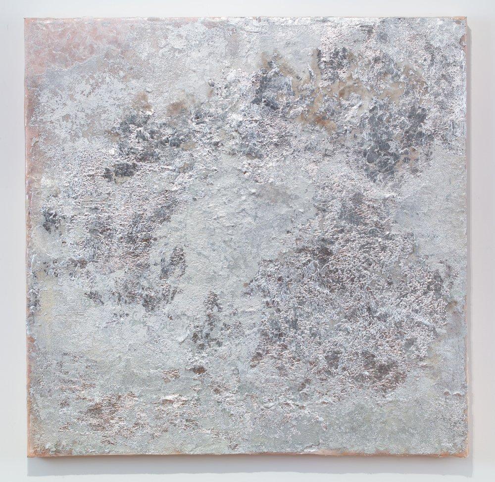 Rosalind Tallmadge  Moon  2018 Mixed media on silk 36 x 36 inches
