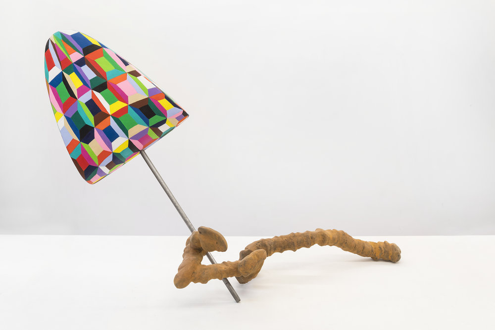 John Newman  Discussion Stick (Rusty and Exuberant)  2015 Cast bronze with ferric patina, steel rod, styrofoam coated with aqua resin, and acrylic paint 38 x 25 x 20 inches