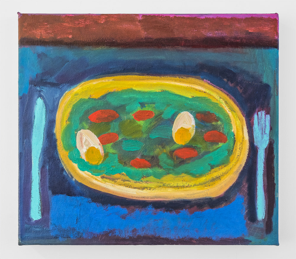 Jennifer Sullivan  Ab Ex Egg Salad  2018 Oil and oil stick on canvas 16 x 18 inches