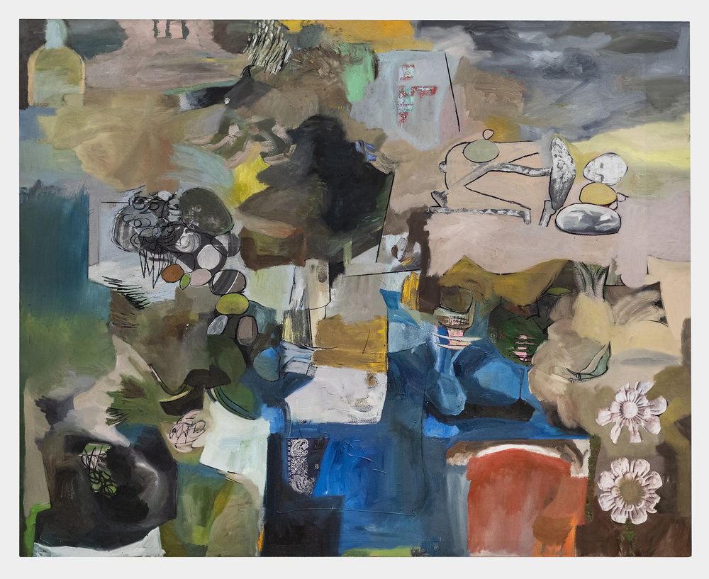 Matias Argañaraz  Untitled (C.o.M.P.a.S)  2018 Oil, charcoal, paper, ink, and bandanna on canvas 72 x 90 inches