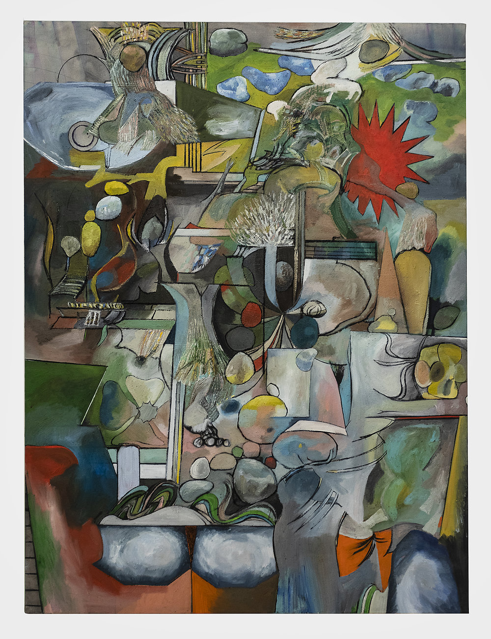 Matias Argañaraz  Untitled (A.T.i.O.)  2018 Oil, acrylic, and charcoal on canvas 56 x 42 inches