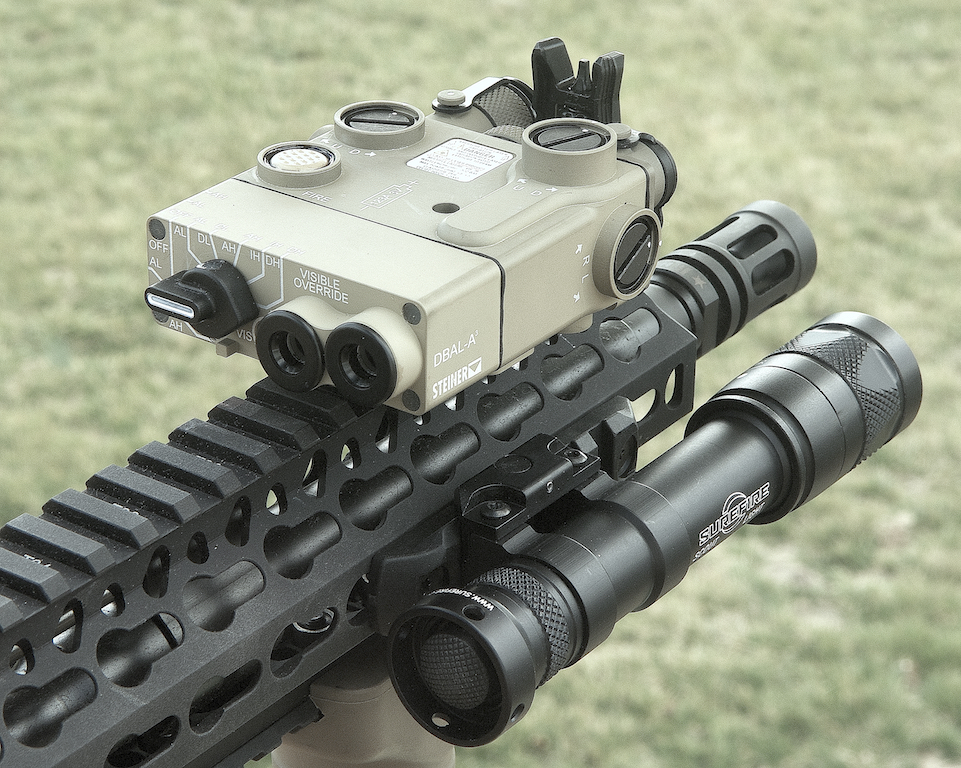 Steiner DBAL visible/IR lasers with integral IR illuminator on Bravo Company upper with 15-inch KeyMod handguard, Magpul MBUS Pro front sight, and SureFire Scout white/IR weaponlight.
