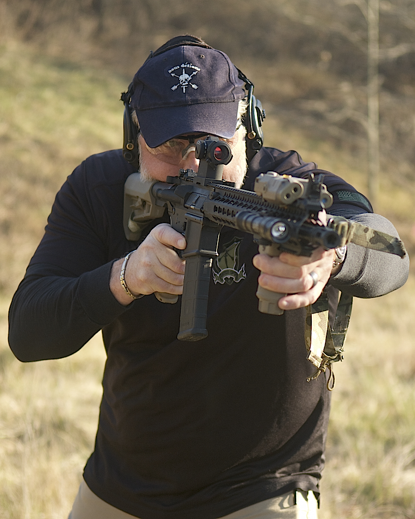 89f6537f64c Mike Green engages target during one of daylight scenarios.