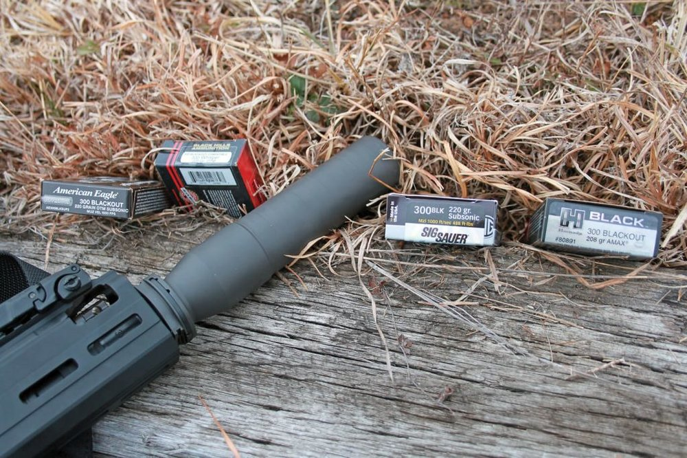 The SIG Sauer SRD762-QD rifle suppressor, mounted on the MCX Rattler. The adjustable gas system is visible at the end of the Rattler's forend.