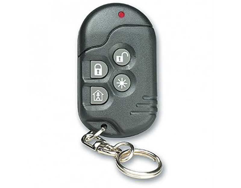 Keyfob remote that allows a customer to arm, disarm or initiate audible panic within 150 ft. for home security systems offered by NCA Alarms Nashville TN