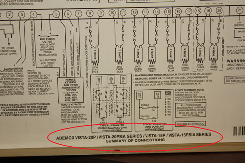 Hookup panel diagram for the 6128 ADEMCO Fixed English alarm system showing the location of the serial number - NCA Alarms Nashville TN