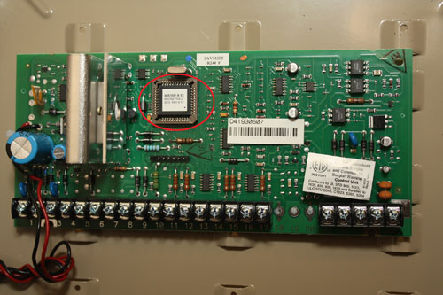 circuit board for the 6280 honeywell touchscreen alarm system showing the  location of the serial number